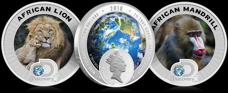 African lion and Mandrill honored with Discovery Endangered Species series of colorized silver coins
