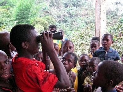 Children learn bird watching